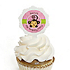 Pink Monkey Girl - Personalized Birthday Party Cupcake Pick and Sticker Kit - 12 ct