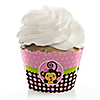 Pink Monkey Girl - Birthday Party Cupcake Wrappers & Decorations