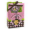 Pink Monkey Girl - Personalized Birthday Party Favor Boxes