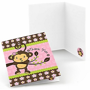 Pink Monkey Girl - Birthday Party Thank You Cards - 8 ct