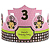 Pink Monkey Girl - Personalized Birthday Party Hats - 8 ct