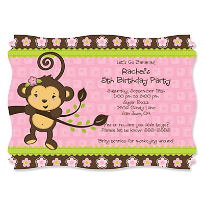 Monkey girl birthday party theme bigdotofhappiness pink monkey girl personalized birthday party invitations set of 12 filmwisefo