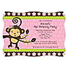 Pink Monkey Girl - Personalized Birthday Party Invitations - Set of 12