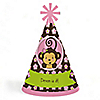 Monkey Girl - Personalized Cone Happy Birthday Party Hats for Kids and Adults - Set of 8 (Standard Size)