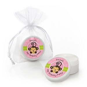 Pink Monkey Girl - Personalized Birthday Party Lip Balm Favors - Set of 12