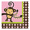 Pink Monkey Girl - Birthday Party Luncheon Napkins - 16 ct