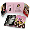 Pink Monkey Girl - Personalized Birthday Party Photo Invitations - Set of 12