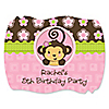 Pink Monkey Girl - Personalized Birthday Party Squiggle Stickers - 16 ct