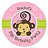 Pink Monkey Girl - Personalized Birthday Party Sticker Labels - 24 ct