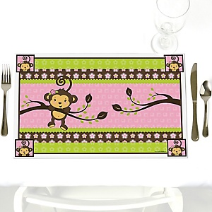 Pink Monkey Girl - Party Table Decorations - Baby Shower or Birthday Party Placemats - Set of 12