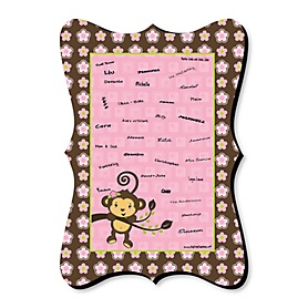 Monkey Girl - Unique Alternative Guest Book - Baby Shower or Birthday Party Signature Mat