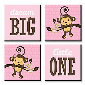 Pink Monkey Girl - Nursery Decor - 11 x 11 inches Kids Wall Art - Baby Shower Gift Ideas - Set of 4 Prints for Baby's Room