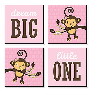 """Pink Monkey Girl - Nursery Decor - 11"""" x 11"""" Kids Wall Art - Baby Shower Gift Ideas - Set of 4 Prints for Baby's Room"""