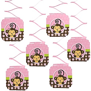 Pink Monkey Girl - Baby Shower Hanging Decorations - 6 ct