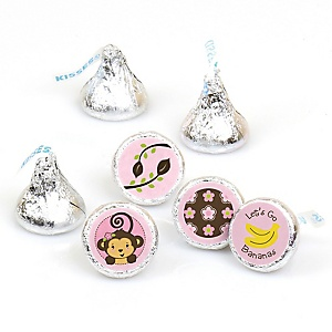 Pink Monkey Girl - Round Candy Labels Party Favors - Fits Hershey's Kisses 108 ct