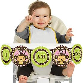Pink Monkey Girl 1st Birthday - I am One - First Birthday High Chair Banner