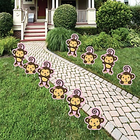 Pink Monkey Girl - Lawn Decorations - Outdoor Baby Shower or Birthday Party Yard Decorations - 10 Piece