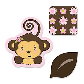 Pink Monkey Girl - DIY Shaped Party Paper Cut-Outs - 24 ct