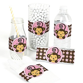 Pink Monkey Girl - DIY Party Wrappers - 15 ct