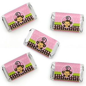 Pink Monkey Girl - Mini Candy Bar Wrapper Stickers - Baby Shower or Birthday Party Small Favors - 40 Count