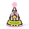 Monkey Girl - Personalized Mini Cone Baby Shower or Birthday Party Hats - Small Little Party Hats - Set of 10