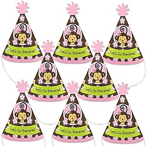 Monkey Girl - Mini Cone Baby Shower or Birthday Party Hats - Small Little Party Hats - Set of 8