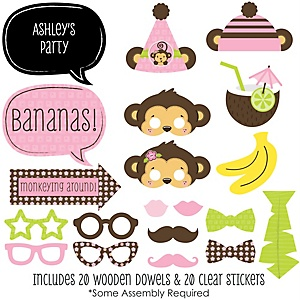 Pink Monkey Girl - 20 Piece Photo Booth Props Kit
