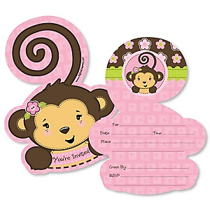 Monkey Girl - Shaped Fill-In Invitations - Baby Shower or Birthday Party Invitation Cards with Envelopes - Set of 12