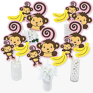Pink Monkey Girl - Baby Shower or Birthday Party Centerpiece Sticks - Table Toppers - Set of 15