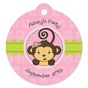 Pink Monkey Girl - Round Personalized Party Tags - 20 ct