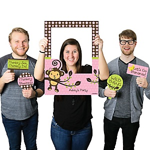 Pink Monkey Girl - Personalized Birthday Party or Baby Shower Photo Booth Picture Frame & Props - Printed on Sturdy Material