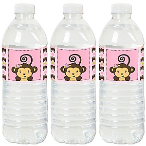 Pink Monkey Girl - Baby Shower or Birthday Party Water Bottle Sticker Labels - Set of 20