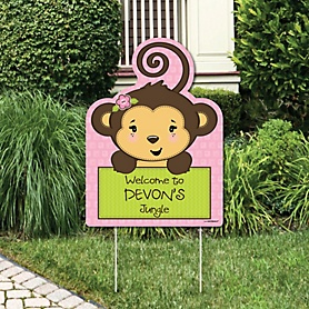 Pink Monkey Girl - Party Decorations - Birthday Party or Baby Shower Personalized Welcome Yard Sign