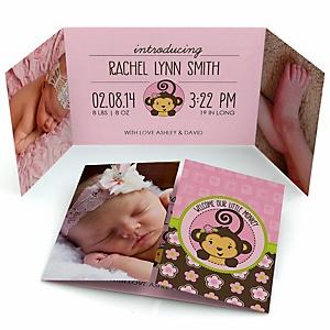 Pink Monkey Girl - Photo Birth Announcements