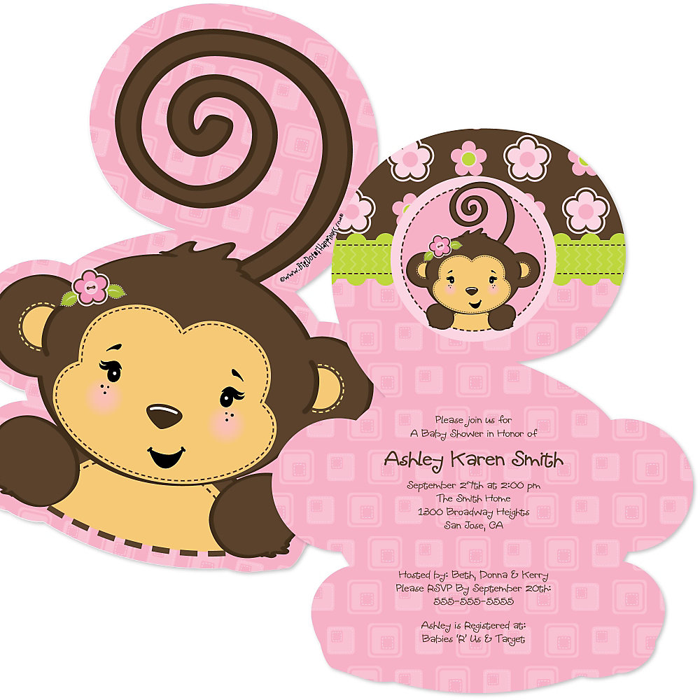 Pink Monkey Shaped Baby Shower Invitations Set Of 12 Double Tap To Zoom