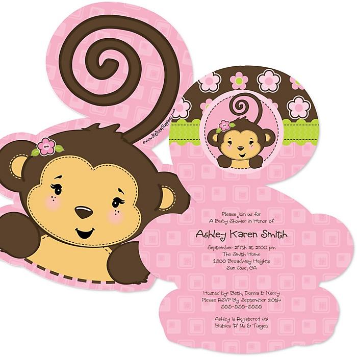 Pink Monkey Girl - Shaped Baby Shower Invitations - Set of 12