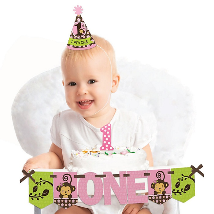 Monkey Girl 1st Birthday - First Birthday Girl Smash Cake Decorating Kit - High Chair Decorations