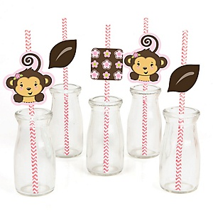 Pink Monkey Girl - Paper Straw Decor - Baby Shower or Birthday Party Striped Decorative Straws - Set of 24