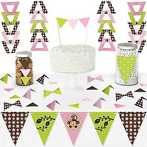 Pink Monkey Girl - DIY Pennant Banner Decorations - Baby Shower or Birthday Party Triangle Kit - 99 Pieces