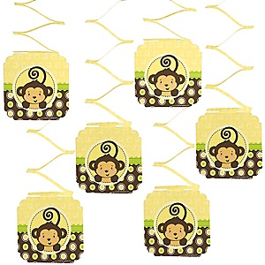 Monkey Neutral - Baby Shower Hanging Decorations - 6 ct