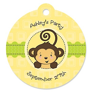 Monkey Neutral - Round Personalized Party Tags - 20 ct