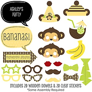 Monkey Neutral - 20 Piece Photo Booth Props Kit