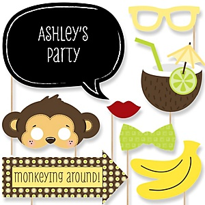 Monkey Neutral - Baby Shower Photo Booth Props Kit - 20 Props