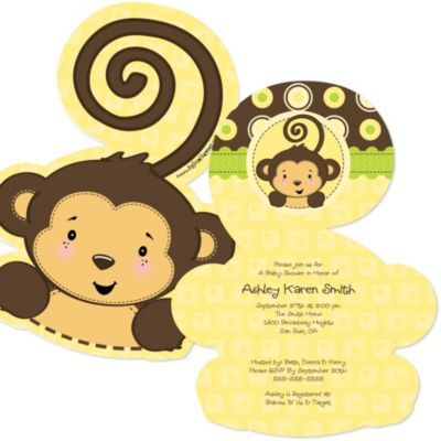 Monkey Neutral Shaped Baby Shower Invitations BigDotOfHappinesscom