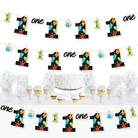 1st Birthday Monster Bash - Little Monster First Birthday Party DIY Decorations - Clothespin Garland Banner - 44 Pieces