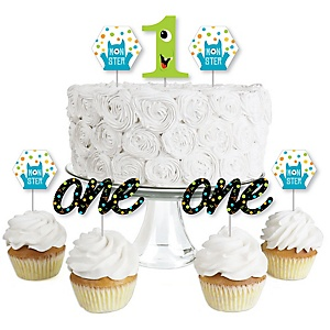 1st Birthday Monster Bash - Dessert Cupcake Toppers - Little Monster First Birthday Party Clear Treat Picks - Set of 24