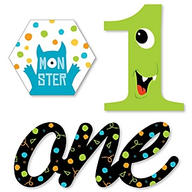 1st Birthday Monster Bash - DIY Shaped Little Monster First Birthday Party Cut-Outs - 24 ct