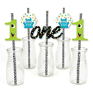 1st Birthday Monster Bash - Paper Straw Decor - Little Monster First Birthday Party Striped Decorative Straws - Set of 24