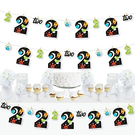 2nd Birthday Monster Bash - Little Monster Second Birthday Party DIY Decorations - Clothespin Garland Banner - 44 Pieces