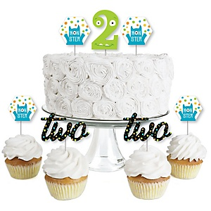 2nd Birthday Monster Bash - Dessert Cupcake Toppers - Little Monster Second Birthday Party Clear Treat Picks - Set of 24